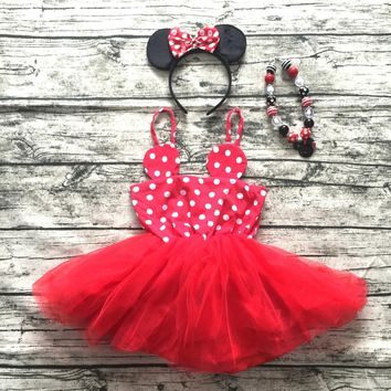 2016 new girl summer dress Infant Dresses kids minnie mouse dress Lovely girl Dress with necklace girl summer outfits boutique