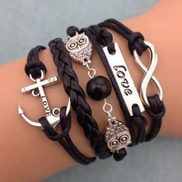Infinity Owl Love Anchor Friendship Bracelet