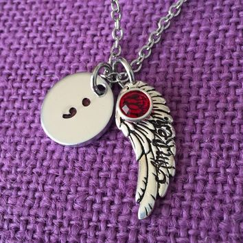 Semicolon Necklace - Semicolon Jewelry - Suicide Memorial - Suicide Awareness - Suicide Loss - Memorial Jewelry - Remembrance Necklace
