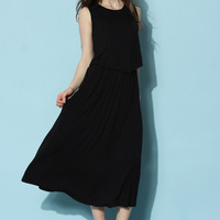 Cozy Flap Top and Maxi Skirt Set in Black Black