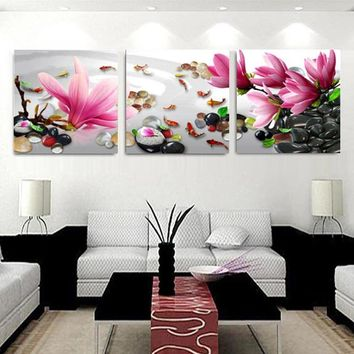 3 Panels Modern China Wind magnolia flowers Painting On Canvas Wall Art Cuadros Picture Home Decor For Living room and bedroom
