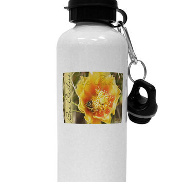Bee Cactus with Text Aluminum 600ml Water Bottle