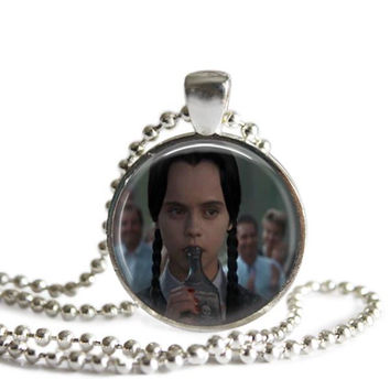 Wednesday Addams Sipping Poison Silver Plated Picture Pendant Necklace
