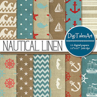 "Nautical linen digital paper ""Nautical Linen"" clipart papers in blue red white, digital scrapbook paper, sea life patterns, linen background"