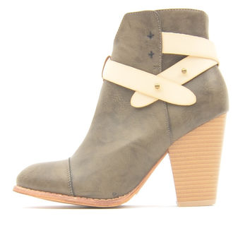 Taupe Leather Booties with Chunky Heel and Cream Leather Wrap Detail
