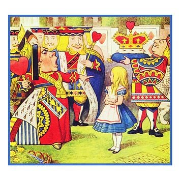 John Tenniel's The Queen With Alice in Wonderland Counted Cross Stitch Chart Pattern
