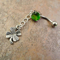 Four Leaf Clover Belly Button Ring, Green Shamrock Lucky Navel Jewelry Belly Ring