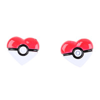 Pokemon Poke Ball Heart Earrings