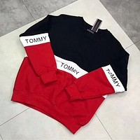""" Tommy Hilfiger "" Women Color matching Scoop Neck Long Sleeve Pullover"