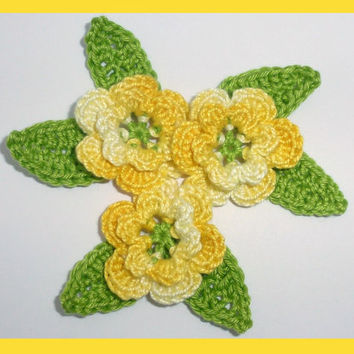 3 crochet flowers and 6 leaves, applique embellishments