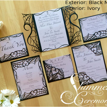 gothic spider web halloween wedding laser cut invitation gatefold suite