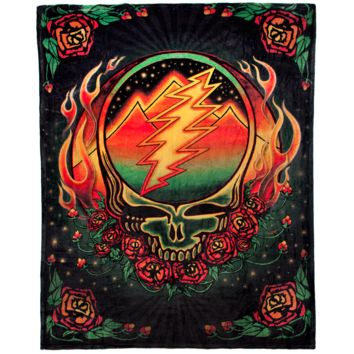 Grateful Dead Scarlet Fire Stealie Coral Fleece Blanket