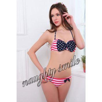 Patriotic Padded Underwire American Flag Halter Top Two Piece