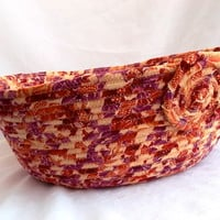 Autumn Cat Bed, Handmade Fabric Basket by Wexford Treasures, Tan Flannel Dog Bed, Peaches and Cream Pet Bed, hand coiled fabric basket