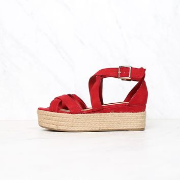 Criss Cross Strappy Two Band Espadrilles Platform Sandal with Ankle Strap - Red Suede