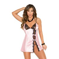 Charmeuse And Lace Trim Baby Doll