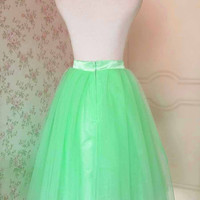 New Green Tutu Skirt. Pleated Tutu Skirt. Lady Tulle skirt. Midi Skirt. Pleated Skirt. Party Skirt. Bridesmaid Skirt. Plus Size Tutus(T1824)