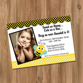 Bumble Bee Birthday Party Invitation with Photo (Digital - DIY)