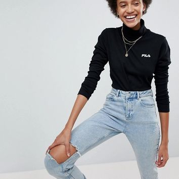 Fila High Neck Top With Small Chest Logo at asos.com