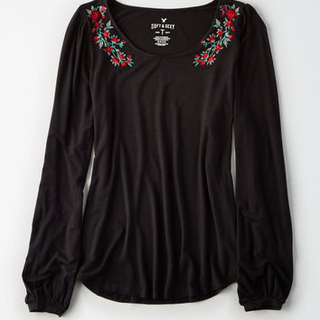 AE Soft & Sexy Embroidered Long Sleeve Top, True Black