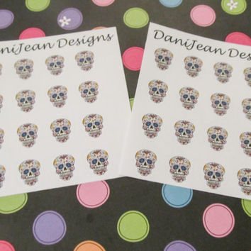 16 Sugar Skull Stickers, perfect for your Erin Condren, Plum Paper, Filo Fax and more!