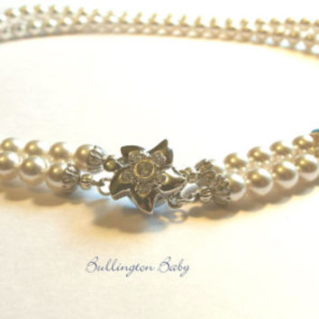 Pearl Necklace, Starfish Necklace, Bridal Necklace, Pearl and Crystal Necklace, Double Strand Necklace (A5)