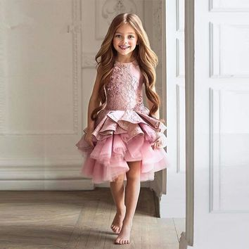 Dark Pink Tulle Cute Flowers Girl Dress 2017 New Satin Lace Tiered Christmas Pageant Evening Prom Gowns