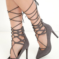 Sweet Life Grey Lace-Up Heels