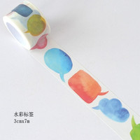 JI102 3cm Wide Colorful Watercolor Labels Decorative Washi Tape DIY Scrapbooking Masking Tape School Office Supply