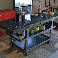 Sky Blue - kitchen island or portable bar, made from steel and recycled gluelam beams with resin top.