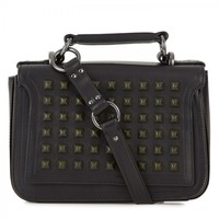 Studded leather cross-body bag
