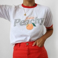 Fellin' Peachy Vintage Aesthetic Ringer Women T shirts Hipster Streetwear Printed Short Sleeved Vogue Summer Tops Cute Outfits