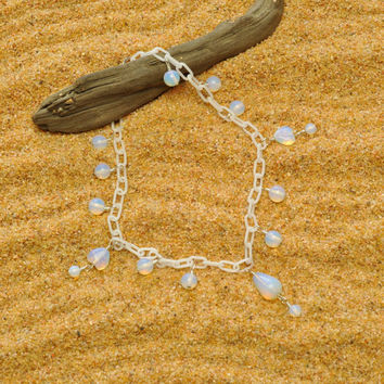 Milky White Anklet with Opalite