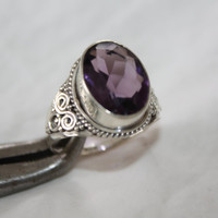 Sterling Amethyst Ring Vintage 1960s Engagement Jewelry