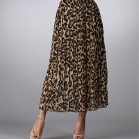 Leopard Long Pleated Skirt