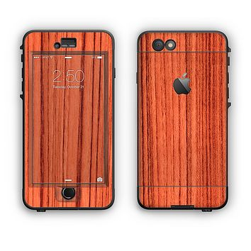 The Bright Red & Black Grained Wood Apple iPhone 6 LifeProof Nuud Case Skin Set