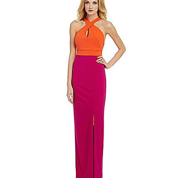 Nicole Miller Collection Cece Techy Crepe Halter Gown - Orange/Pink
