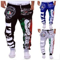 Mens Joggers Men's Fashion Italy Flag Printing Leisure Mens Joggers Department Of Bandwidth Loose Men Pants Xxl | Best Deal Online