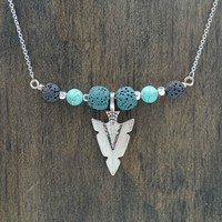 Turquoise Arrowhead Aromatherapy Necklace Essential Oil Diffuser Necklace