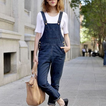 Dark Blue Jumpsuit Jeans With Pockets