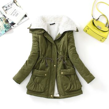 FTLZZ New Winter Women Cotton Coats Medium Long Wadded Slim Jacket Thermal Warm Parkas Casual Quilt Overcoat