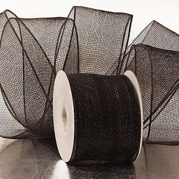 Black 4 inch x 20 yards Solid Deco Mesh Wreath Decorative Ribbon