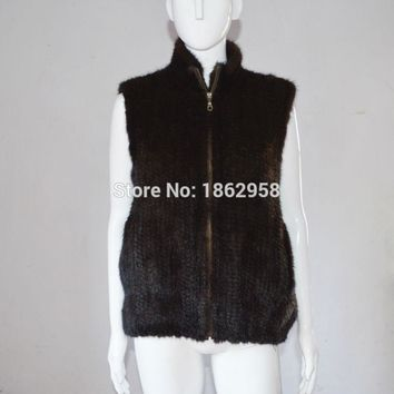 SJ903 Factory Direct Sale Haining Knitted Mink Fur Vest Clothing Mexico Winter Fashion Clothes Coat