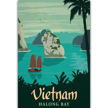 S297 Vietnam Halong Bay Vintage Travel  Scenery Tourism Wall Art Painting Print On Silk Canvas Poster Home Decoration