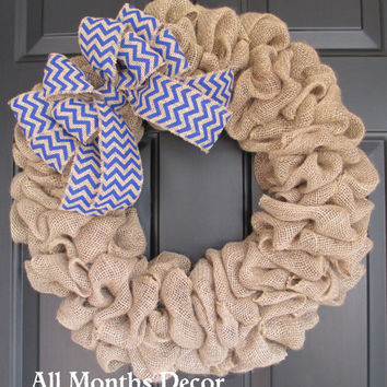 Natural Burlap Wreath with Blue Chevron Burlap Bow, Patriotic, Flag, Memorial Day, 4th of July Independence Day, Labor Day, Military Wreath