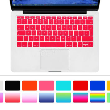 "English Keyboard Cover Silicone Skin for New Macbook 12"" A1534 and New Mac Pro 13"" A1708 (2016 Version, No Touch Bar) EU Layout"