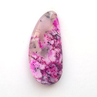 Pink and Black Cabochon 30mm Dendrite Opal Natural Stone Cab Jewelry Design Wire Wrap Jewelry Supply Stone for Setting Bezel Stone Ring Size