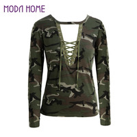 Women Camouflage Long Sleeve T-Shirt Lace Up Neck Cross Printed Sexy Slim T Shirt Tops Army Green Camisas Femininas  SM6