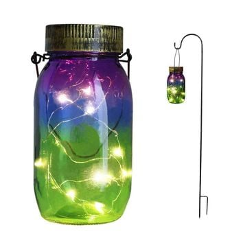 Solar Garden Stake Lights,Mason Jar Solar Garden Decor Lights,Solar LED Outdoor Stakes,Garden Decorative Landscape Lights for Garden Patio,Yard TAKEME 1 -Pack( Mason jar & Shepherd Hook Included)