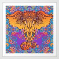 Orange Ganesha Art Print by serigraphonart